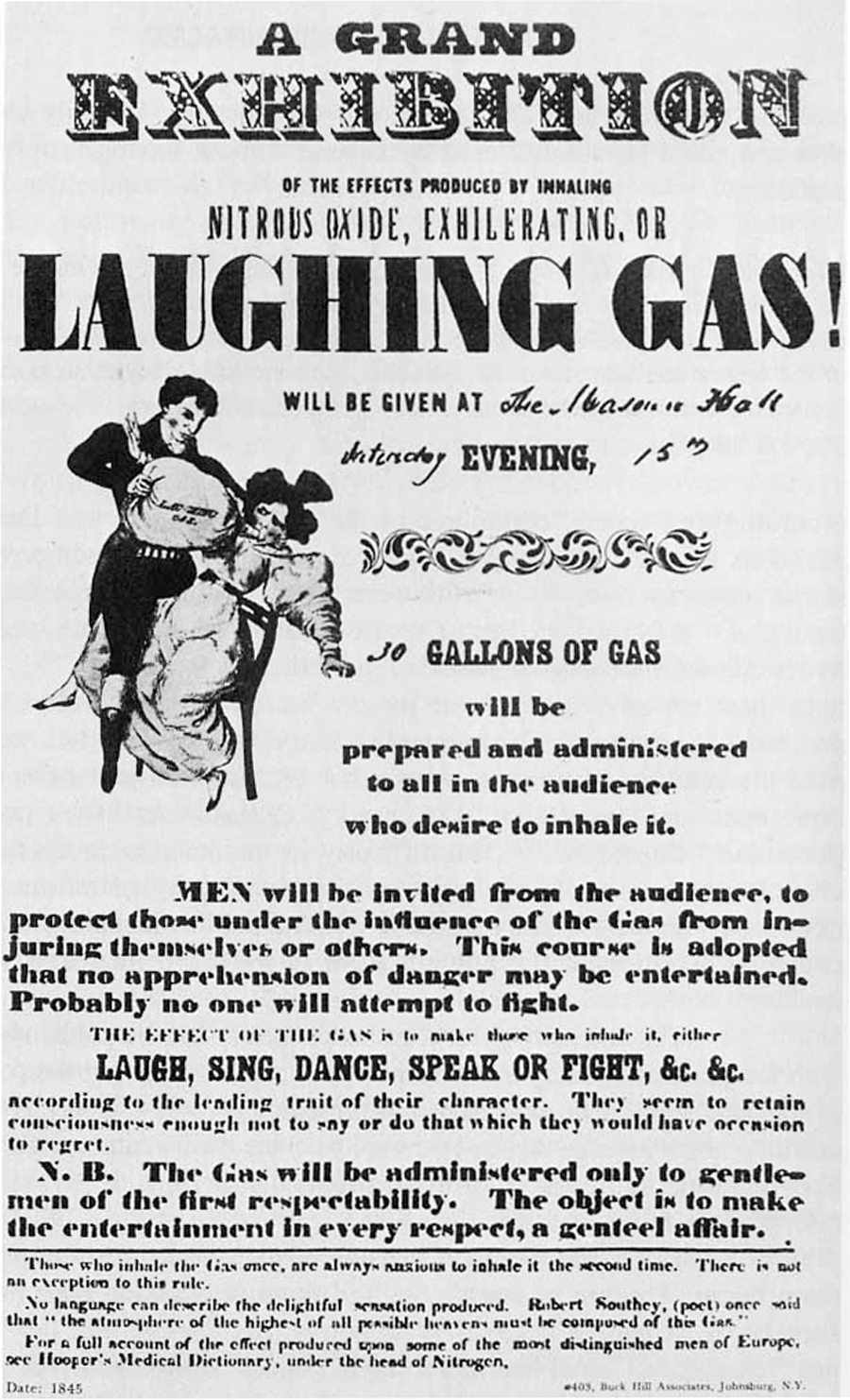 "Figure 1 - A poster advertising a ""laughing gas"" exhibition in 1845. (Image taken from http://www.general-anaesthesia.com/people/laughinggas-poster.html)"