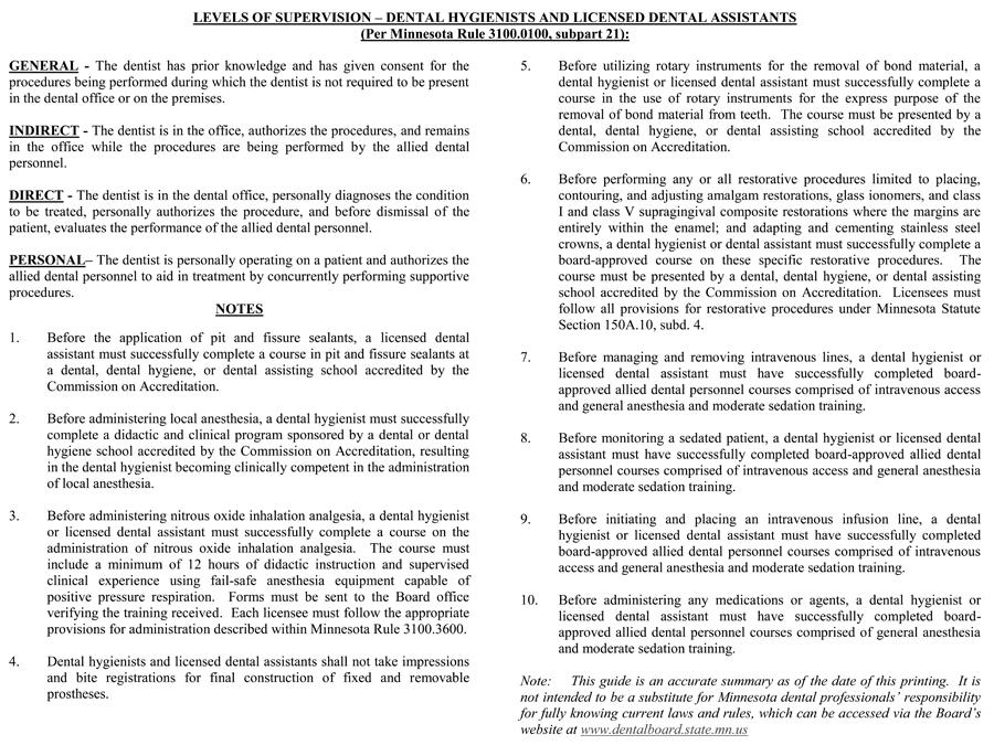 Figure 3. Levels of Supervision - Dental Hygienists And Licensed Dental Assistants (Per Minnesota Rule 3100.0100, subpart 21)