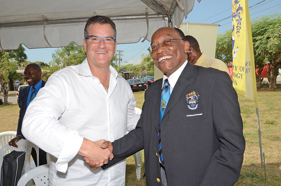 Fig. 4 Dr. Glassman with the President of The University of Technology, Jamaica, Professor the Honourable, Errol Morrison.