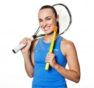 """Martina Hingis, showing that cleaning your teeth is not simply something you have to do every day, but is also fun: """"Curaprox products give me the best quality."""""""