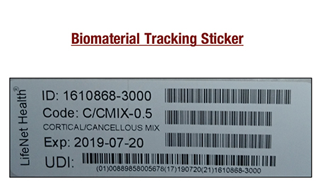 Biomaterial Tracking Sticker