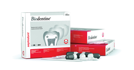 Biodentine (Septodont) is a bioactive restorative material that remineralizes, deposits hydroxyapatite and regenerates live tissue.