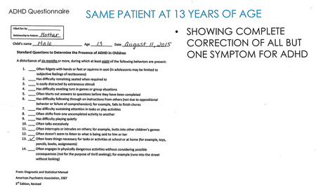 Case Study: Follow up ADD/ADHD Questionnaire of same male.
