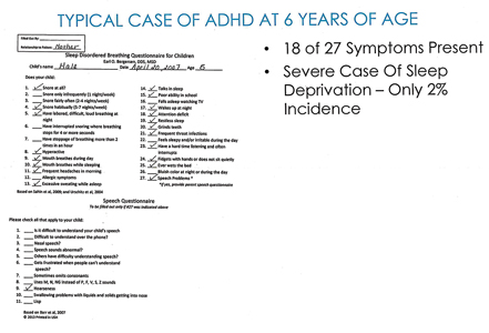 Case Study: Sleep Questionnaire of 6-year-old male.