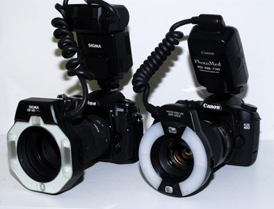SLR camera body, macro lens, and macro flash systems from Nikon and Canon.