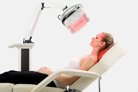 An LED device, positioned over the entire patients face, can be used as a dual treatment of skin rejuvenation combined with in-office teeth whitening.