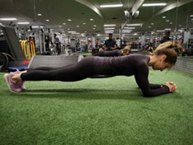 A demonstration of a plank.