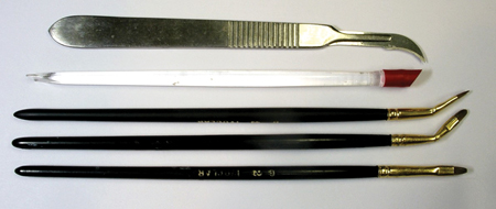 Instruments used for diagnostic preview/mock-up. #11 Bard Parker Blade – Disposable plastic/silicone cuticle pusher – Flat, chisel-shaped ceramist brushes (various brands-custom modified).