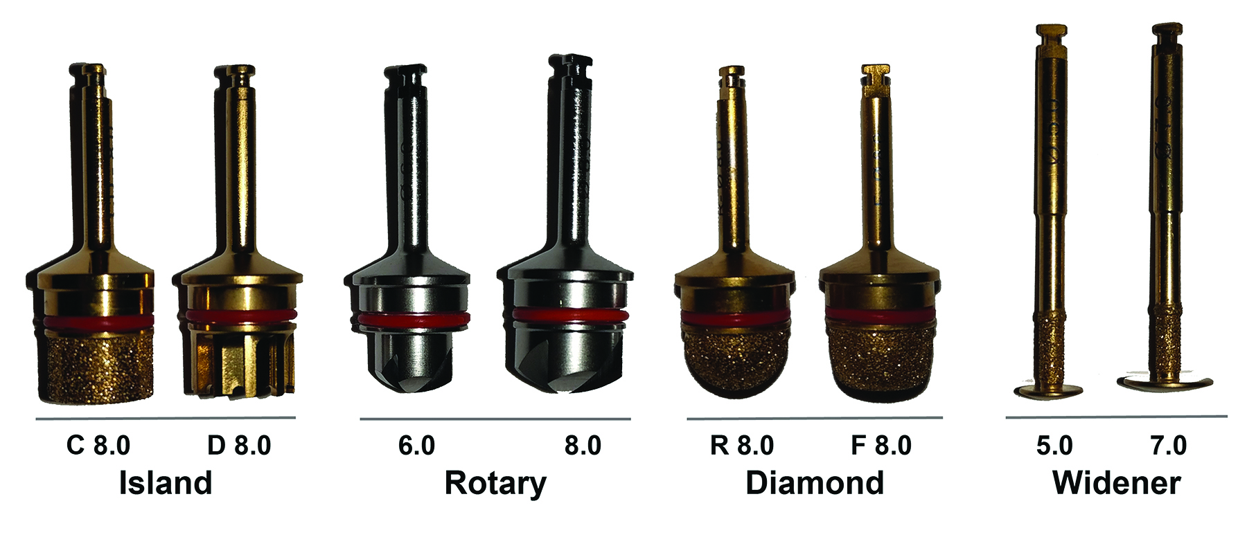 Rotary instruments used in the surgical handpiece
