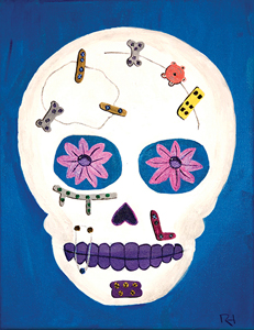 Mexican skull art with microfixation.