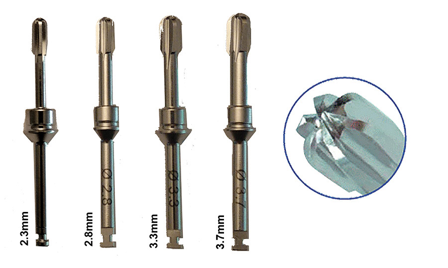 SD reamers in increasing diameters utilized to penetrate the sinus floor without tearing the sinus membrane due to its rounded safe-end (right).
