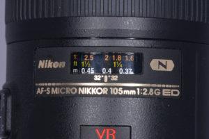 Nikon micro 105mm lens setting at 1:2.