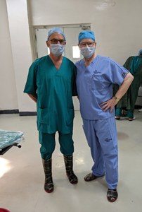 Dr. Dan Haas (left), Dr. Peter Adamson (right) ready for work.