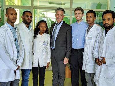(left to right) Dr. Demerew Denjene (AAU staff), Dr. Gizachew Hailu (AAU resident), Dr. Marco Caminiti (U of T OMFS Program Director), Dr. Michael Laschuk (U of T resident), Dr. Birhanu Regassa (AAU resident), Dr. Yosan Edessa (AAU resident).