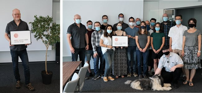 Picture 1: Frank Stockmann, VP Guided Surgery at Dental Wings, with Red Dot | Picture 2: coDiagnostiX team with Red Dot