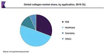Global collagen market share by application in 2019 (F&B is food and beverage).