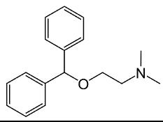 1. Skeletal formulas of diphenhydramine, procaine, and lidocaine.