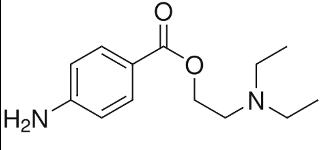 Skeletal formulas of diphenhydramine, procaine, and lidocaine.