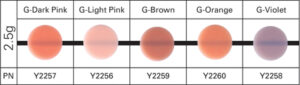 . The resin material is available in 5 shades (dark pink, light pink, brown, orange and violet).