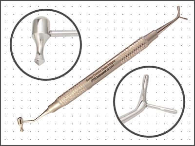 PPS instrument has 4 heads: packers – 0.8 and 1.5mm, 97° acorn burnisher, and ball burnisher.