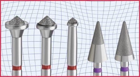 Occlusinator PRO burs: acorn – large, medium and small; Xmas Tree burs – 50% and 80% diamond coated.