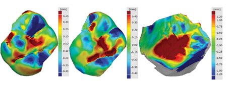 The surface comparison maps of nonrelative subjects of the maxillary first molars, of the maxillary second molars, and of the palate. None of the teeth had restorations. Deep red and blue areas indicate distance deviation higher than the range of the color scale.