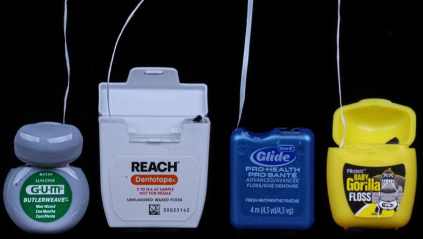Representative examples of different types of dental floss (left to right): nylon floss, dental tape, PTFE floss, UHMWPE (Gorilla Floss-Dental Savings Club).